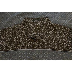 Gucci Horseshoe 100% Silk Gray Blue Long Sleeve